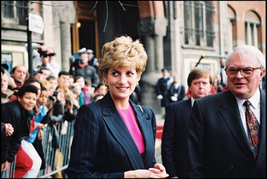 La princesse Diana accueillie par Pierre Mauroy à Lille, le 2 mai 1993