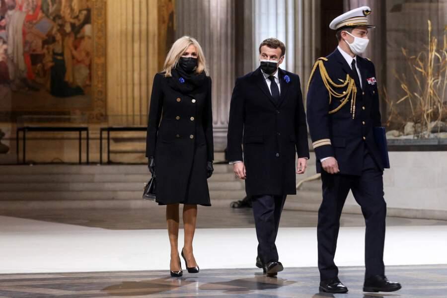Emmanuel et Brigitte Macron à la cérémonie de panthéonisation de Maurice Genevoix, le 11 novembre 2020