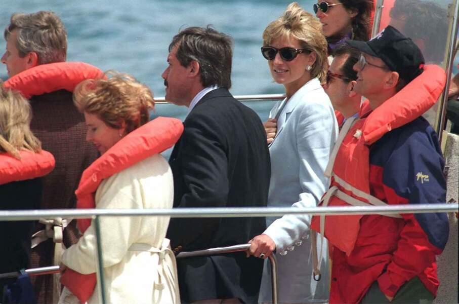 La princesse Diana en Argentine sur un bateau, en 1995