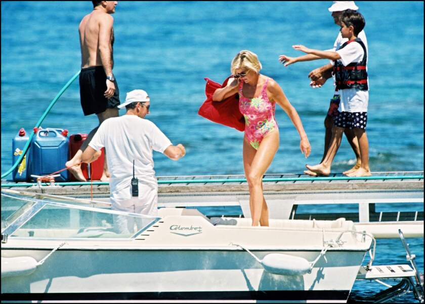 Lady Diana en vacances à Saint-Tropez, le 16 juillet 1997