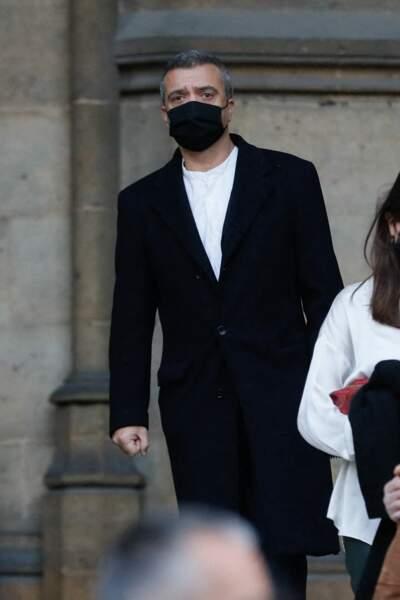 Thomas Langmann à la sortie des obsèques du producteur Cyril Colbeau-Justin en la basilique Saint-Clotilde, ce jeudi 12 novembre.