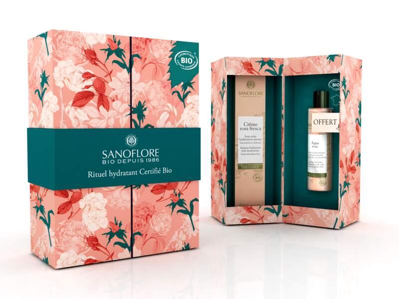Coffret de Noël Rosa, 22,50€, sanoflore.fr et pharmacies ou parapharmacies.