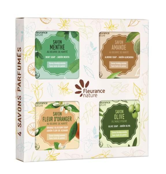 Coffret de 4 savons parfumés, Fleurance Nature, 13,20€, sur fleurancenature.fr ou au 05 62 06 14 48.
