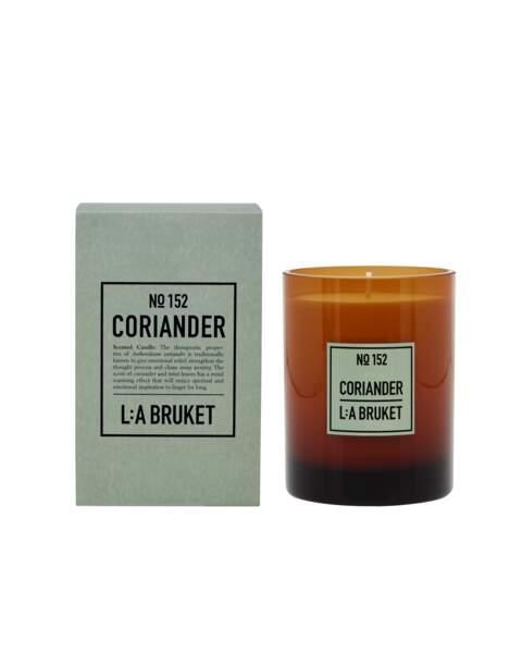 Bougie Coriandre,  L:A BRUKET, 260g, 58€, sur labruket.com