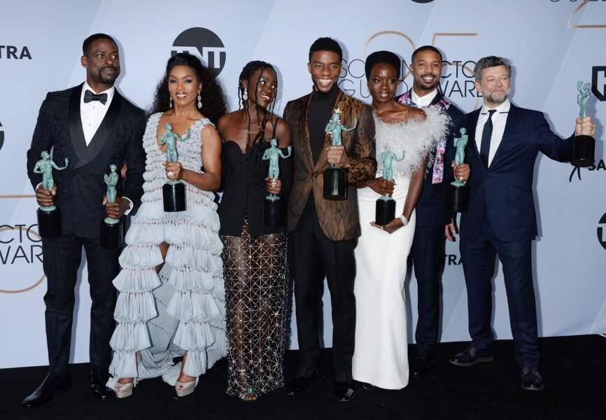 Michael B.Jordan et les autres acteurs de Black Panther, lors de la 25ème cérémonie annuelle des Screen Actors Guild Awards au Shrine Audritorium à Los Angeles, le 27 janvier 2019
