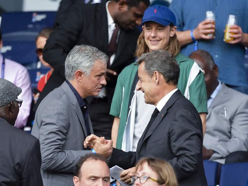 Pierre Sarkozy et Nicolas Sarkozy dans les tribunes lors du quart de finale de la Coupe du Monde Féminine de football, avec l'entraineur de football José Mourinho, au Parc des Princes à Paris, France, le 28 juin 2019.