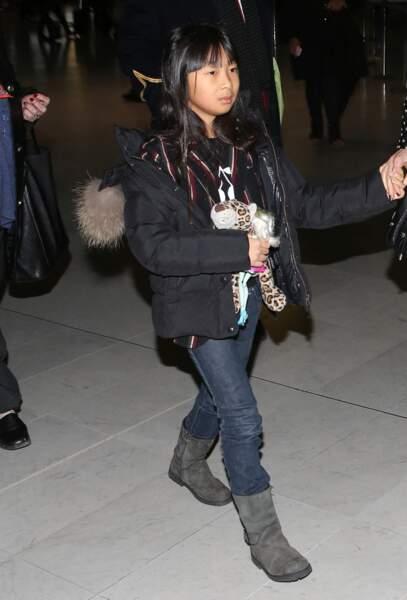 Jade Hallyday, en partance pour Los Angeles, en janvier 2014.