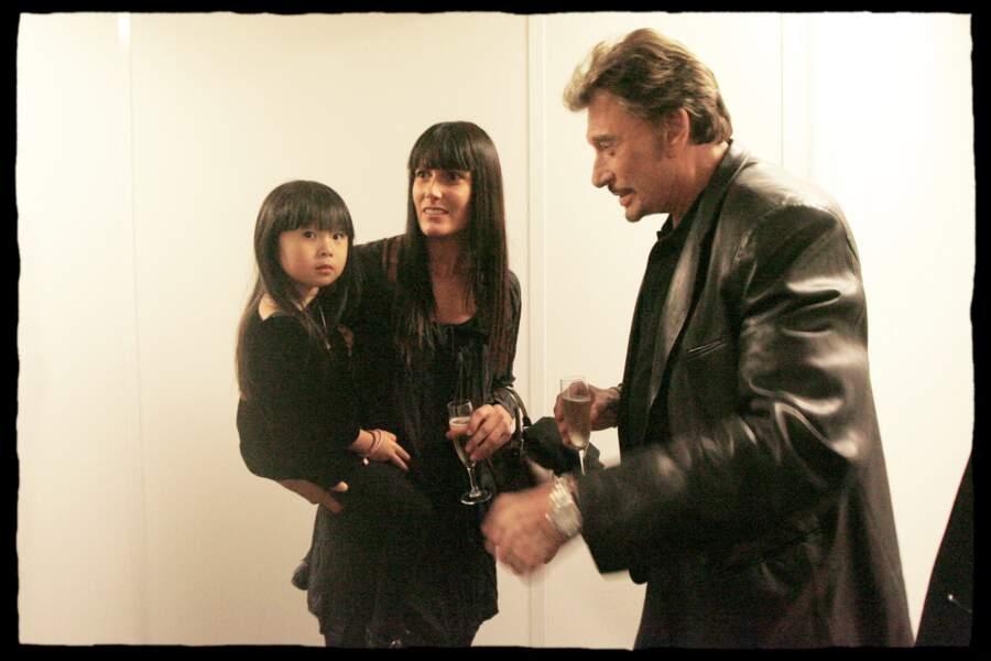 Johnny Hallyday, avec Jade, lors d'une soirée Star Academy, en octobre 2008.