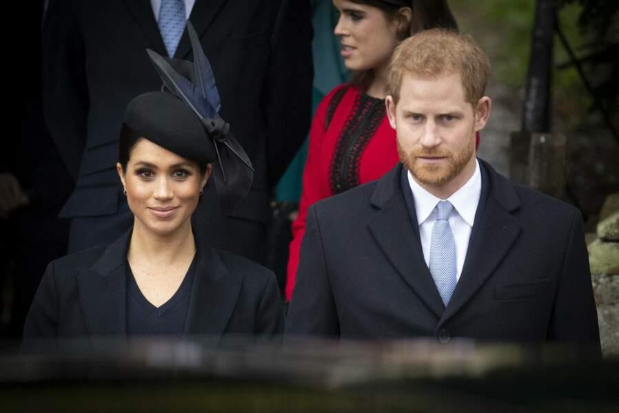 Le prince Harry et Meghan Markle à la messe de Noël à Sandringham, le 25 décembre 2018