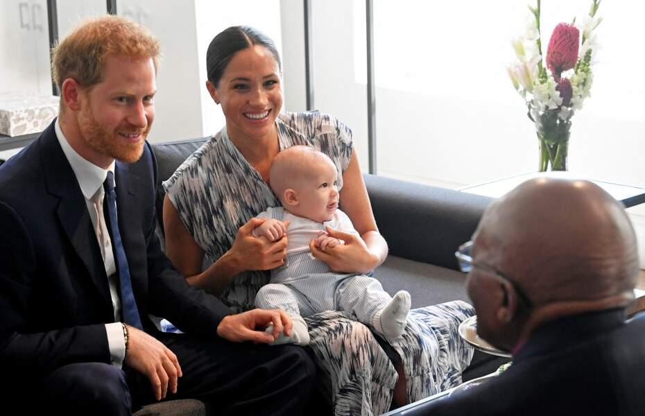 Le prince Harry et Meghan Markle avec leur fils Archie ont rencontré l'archevêque Desmond Tutu et sa femme à Cape Town, Afrique du Sud, le 25 septembre 2019