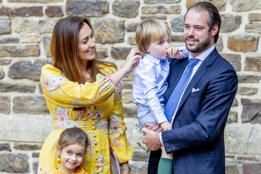 Le prince Félix de Luxembourg, La princesse Claire de Luxembourg, La princesse Amalia de Luxembourg, Le prince Liam de Luxembourg à l'Abbaye Saint-Maurice-et-Saint-Maur, Clervaux, Luxembourg, le 19 septembre 2020