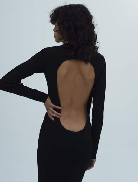 Robe Darc noire longue et droite à dos nu, 220 €, Musier.