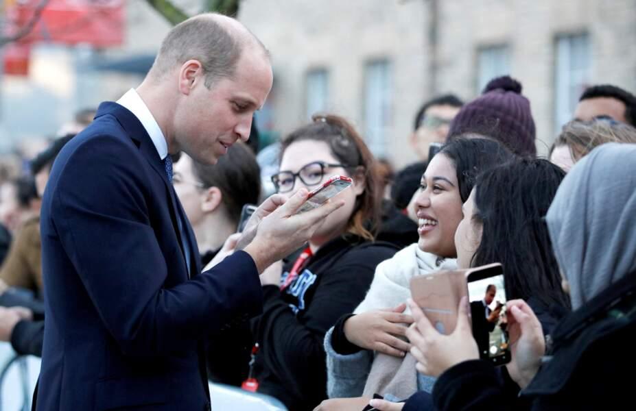 Le prince William en visite à l'université de Leicester, le 28 novembre 2018