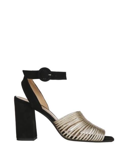 Chaussures en suede et cuir doré, Caroline Bliss, 250 €.