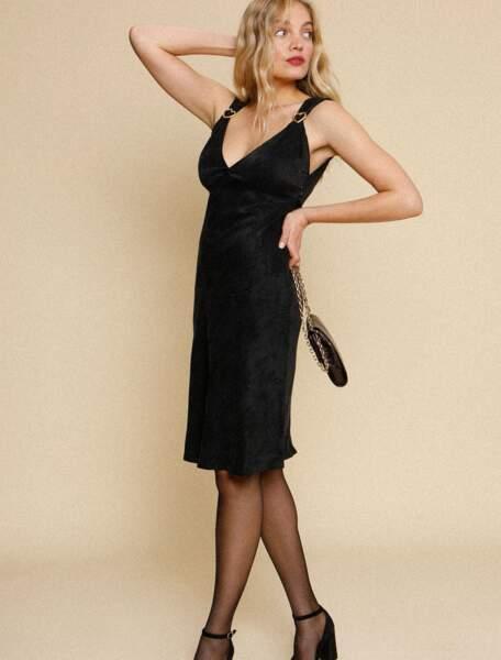 Robe Cléo noire à bretelles, 180 €, Rouje.