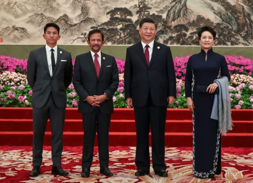 """Le prince Abdul Mateen de Brunei, (à gauche) à Pékin à l'occasion du forum """"Belt and Road"""", le 26 avril 2019"""