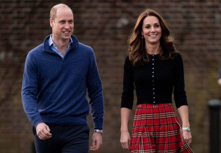 Le prince William et Kate Middleton arrivent à une fête de Noël pour le personnel de la RAF (Royal Air Force)à Londres, le 4 décembre 2018