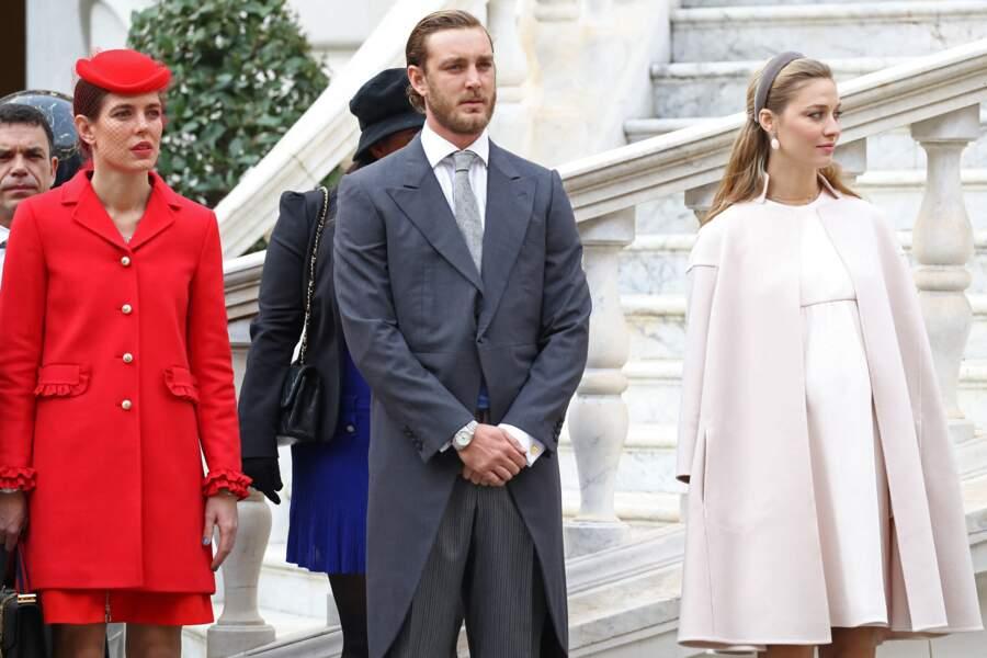 Pierre Casiraghi et sa femme Beatrice Borromeo enceinte assistent à la fête Nationale de Monaco, le 19 novembre 2016