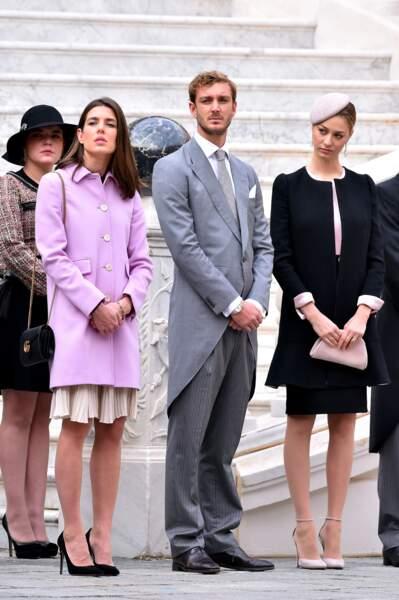 Charlotte Casiraghi, Pierre Casiraghi et sa femme Beatrice Borromeo lors de la Fête Nationale monégasque, le 19 novembre 2015