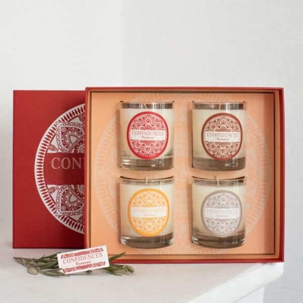 Coffret 4 bougies Confidences Provence, 80 € sur confidencesprovence.com