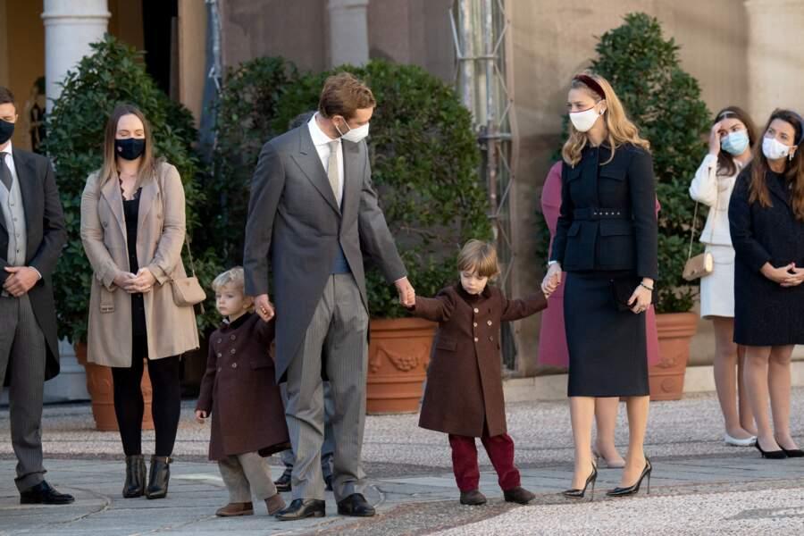 Pierre Casiraghi, sa femme Beatrice Borromeo et leurs enfants lors de la Fête Nationale de la principauté de Monaco, le 19 novembre 2020