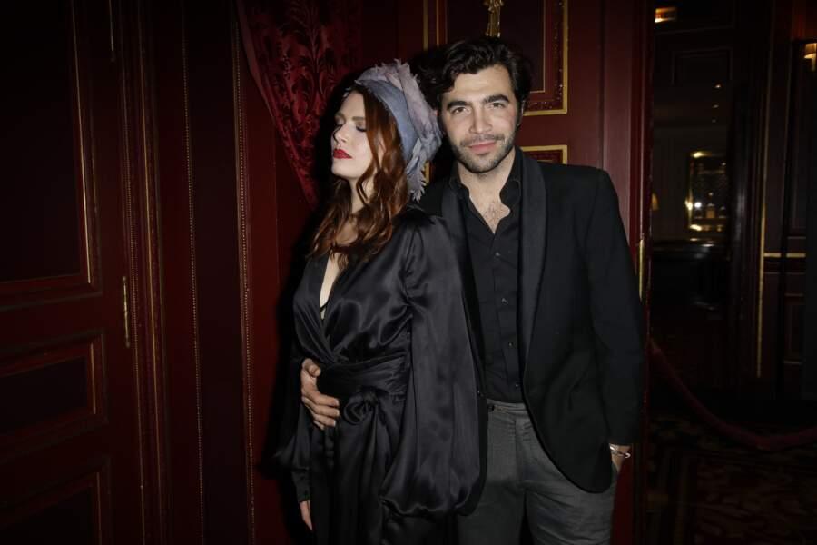 Elodie Frégé et son compagnon Gian Marco Tavani au lancement du magazine 7000 Art Company à l'hôtel intercontinental à Paris, le 7 mars 2019