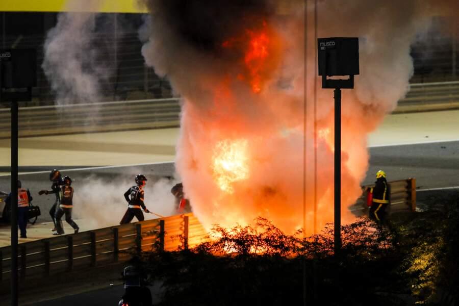 Romain Grosjean, le mari de Marion Jollès, est sorti à temps de sa voiture en feu.