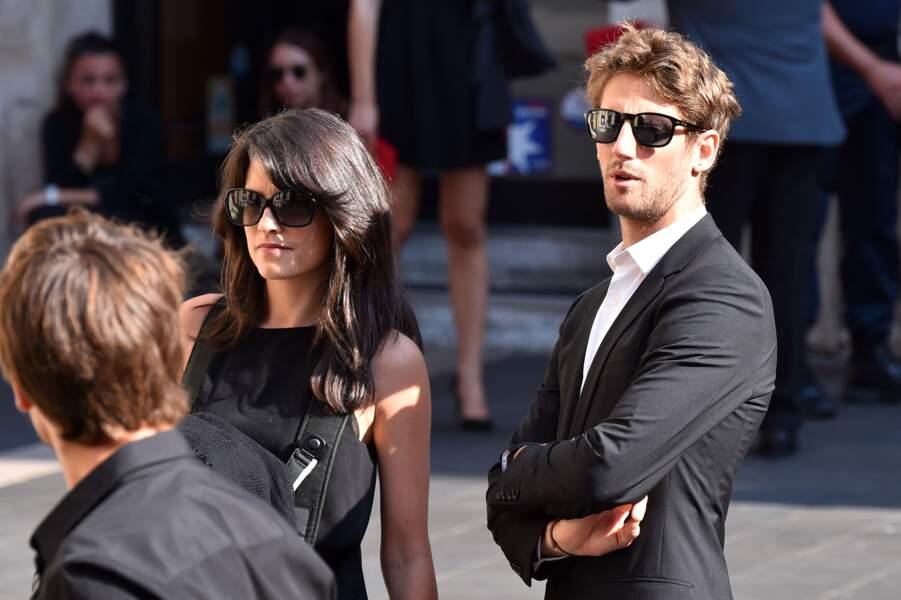 Romain Grosjean et son épouse, la journaliste Marion Jollès, aux obsèques de Jules Bianchi.
