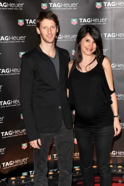 Romain Grosjean et sa femme Marion, enceinte de leur premier enfant Sacha, au printemps 2013.