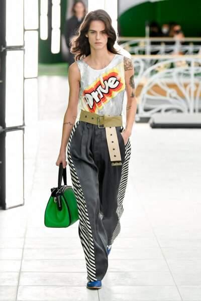 Défilé de mode Louis Vuitton collection prêt-à-porter Printemps-Eté 2021 à La Samaritaine à Paris, le 6 octobre 2020.