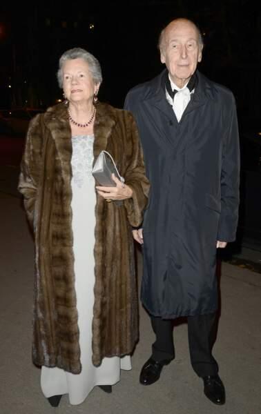 Valéry Giscard d'Estaing et sa femme Anne-Aymone lors de l'inauguration d'une exposition au Grand Palais en 2013.
