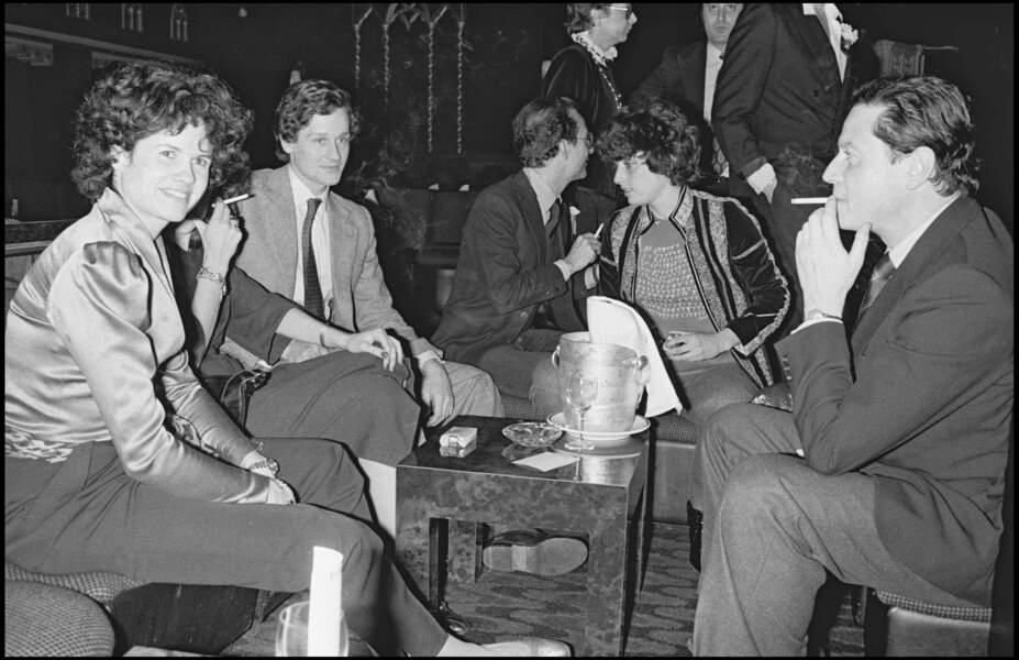 La fille aînée de Valéry Giscard d'Estaing et son mari Gérard Montassier dans un club parisien en 1980.