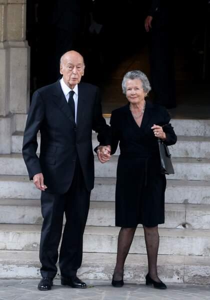 Valéry Giscard d'Estaing et sa femme Anne-Aymone lors des obsèques de Liliane Bettencourt en 2017.