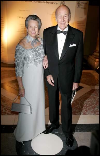 Valéry Giscard d'Estaing et sa femme Anne-Aymone au château de Versailles en 2008.