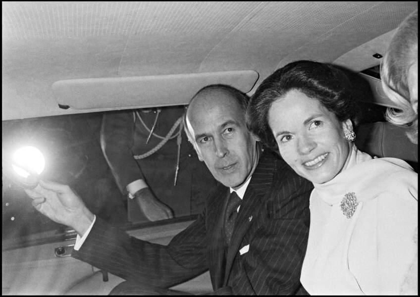 Valéry Giscard d'Estaing et sa femme Anne-Aymone pour l'inauguration du centre Pompidou en 1977.