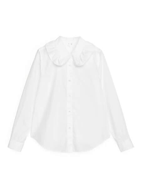 Chemise en popeline de coton à col Claudine - Arket, 69 €
