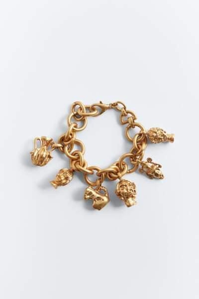 Bracelet en maillons métalliques à pendentifs - Zara, 15,95 €