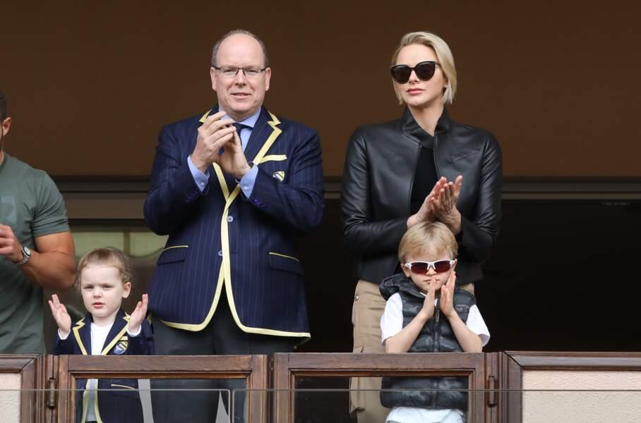 11 mai 2019 : le prince Jacques et la princesse Gabriella avec leurs parents le prince Albert II et la princesse Charlène de Monaco assistent depuis les tribunes du Stade Louis II à la 9ème édition du Tournoi Sainte Dévote de Rugby.