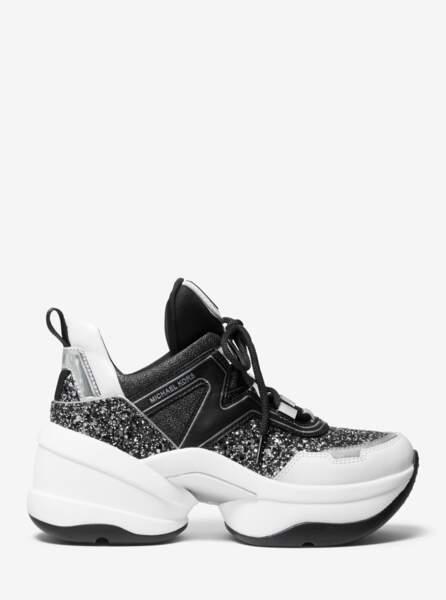 Baskets Olympia en cuir et à paillettes - Michael Michael Kors, 215 €