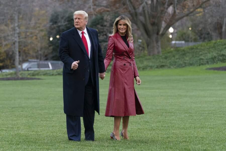 Melania et Donald Trump en route pour un meeting politique en Géorgie, le samedi 5 décembre 2020.
