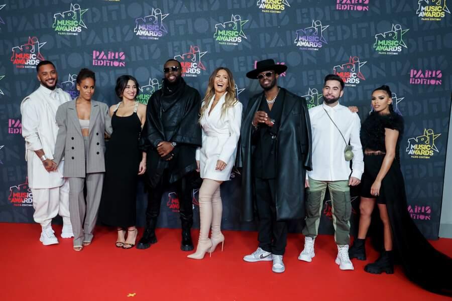 Slimane, Amel Bent, Camelia Jordana, Gims, Vitaa, Dadju, Kendji Girac et Imen ES sur le tapis rouge des NRJ Music Awards 2020.