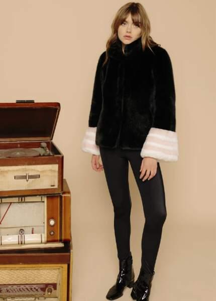 Veste en fausse fourrure vegan noir et rose, 450€, La seine et moi
