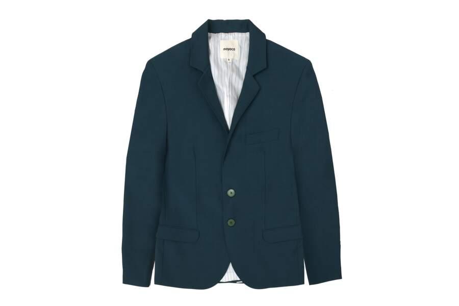 Veste Sintra, laine vierge mohair Duck blue - 280€, Noyoco