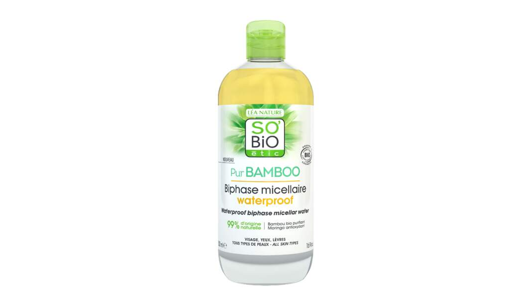 Pur Bamboo Biphase Micellaire Waterproof, So'Bio Etic, 8,95 €