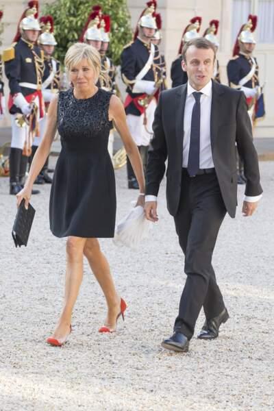 Pour sa première visite à l'Elysée avec Emmanuel Macron, Brigitte avait osé une mini robe