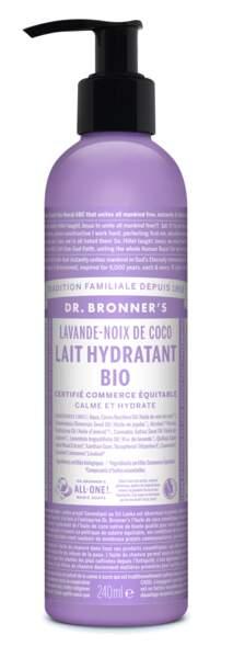 Lait Hydratant bio Lavande-Noix de Coco, Dr. Bronner's, 12,98€.