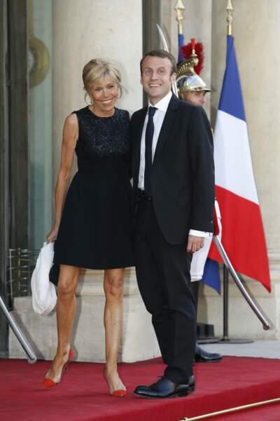 Emmanuel Macron et sa femme Brigitte en 2015 lors d'un diner présidentiel