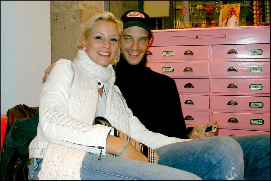 Elodie Gossuin et son chéri Bertrand Lacherie au début de leur histoire en 2004.