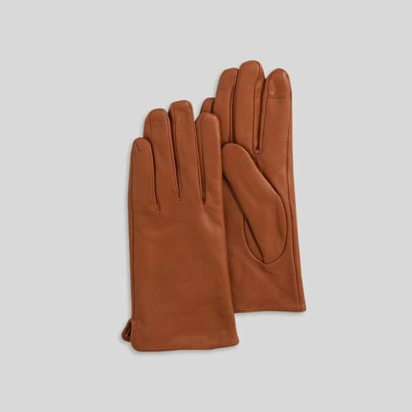 Gants en cuir, 29,99€, Monoprix