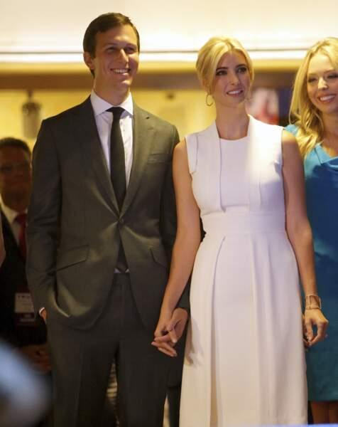 Ivanka Trump et son époux Jared Kushner, lors de la déclaration de candidature de Donald Trump à l'investiture républicaine pour la présidentielle de 2016 pendant une conférence à New York, le 16 juin 2015.